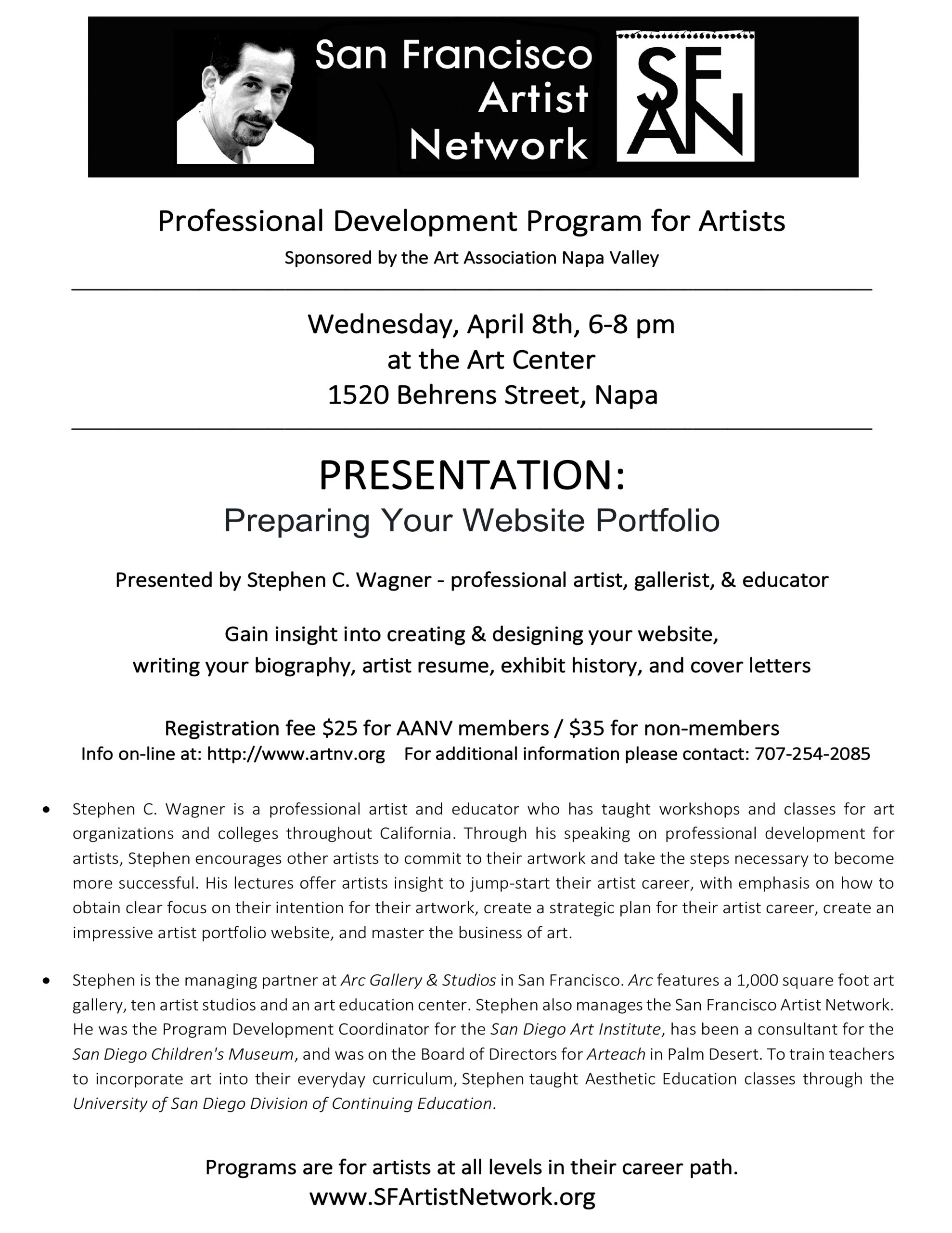 POSTPONED – Professional Development Program for Artists – Preparing Your Website Portfolio